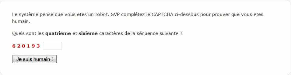 Page crée par Conditionnal Captcha pour contrer le spam de commentaires sous WordPress.